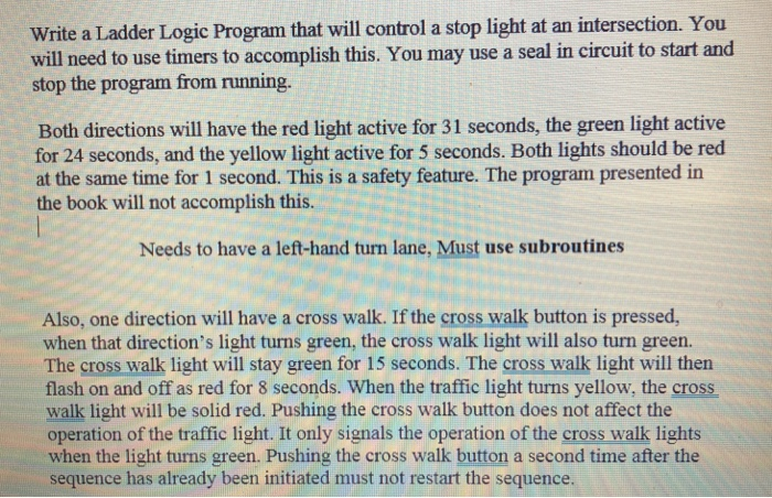 Write A Ladder Logic Program That Will Control A S