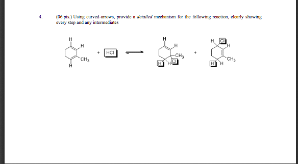 4. (06 pts.) Using curved-arrows, provide a detailed mechanism for the following reaction, clearly showing every step and any intermediates CH CH3 CH