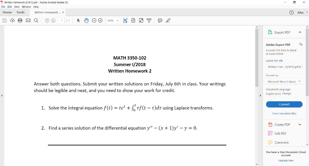 Solved: 0 Wntten Homework 21193] cdr Adobe Acrobat Reader