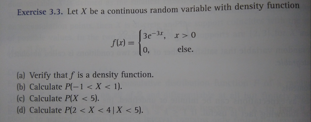 Solved: Exercise 3 3  Let X Be A Continuous Random Variabl