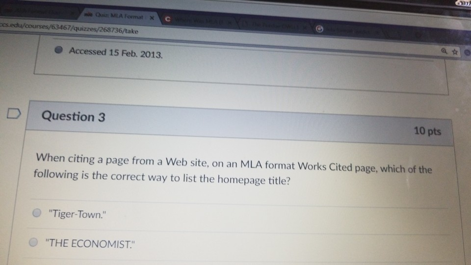 Solved Quiz Mla Format 67 736 Take Accessed 15 Feb 201