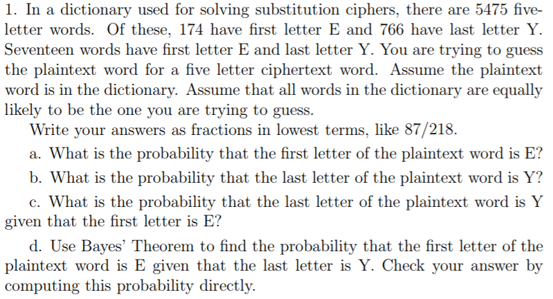 Solved: 1. In A Dictionary Used For Solving Substitution C