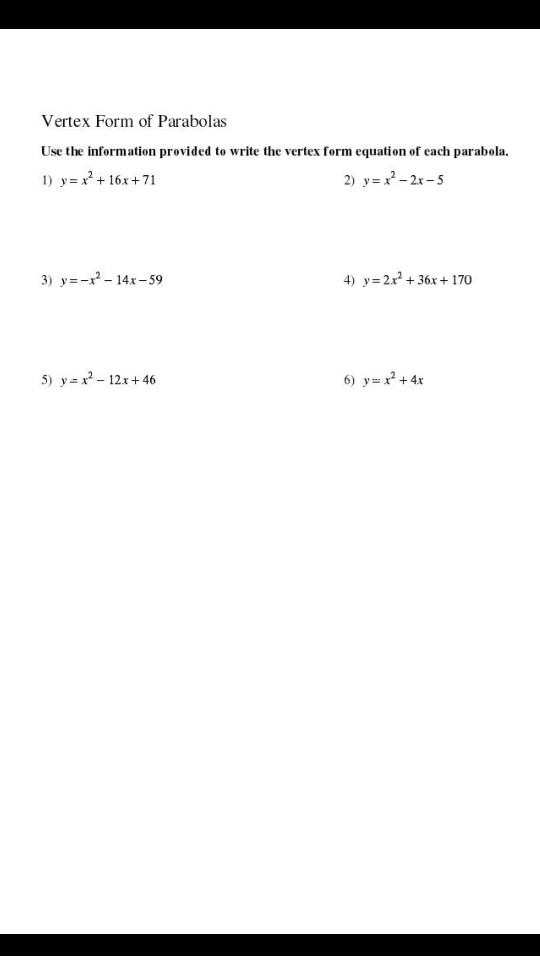Solved Vertex Form Of Parabolas Use The Information Provi