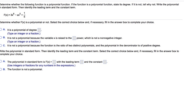 Solved Etermine Whether The Following Function Is A Polyn