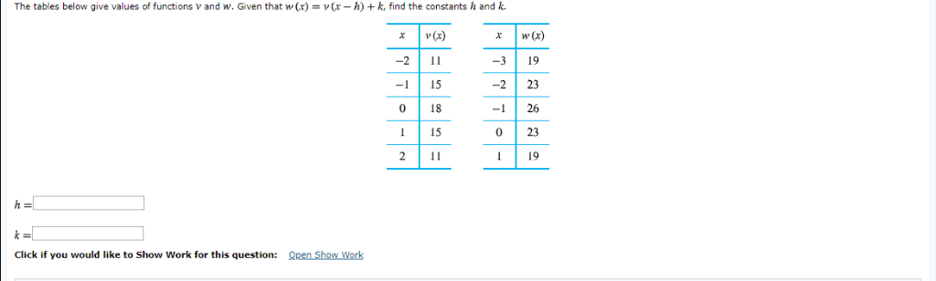 The tables below give values of functions v and w. Given that w(x) vr- h) +k, find the constants h and k. x w(X:) -3 19 -2 23