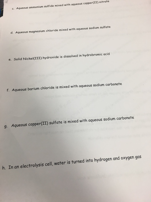Solved: Write A Balanced Chemical Equation For The Followi