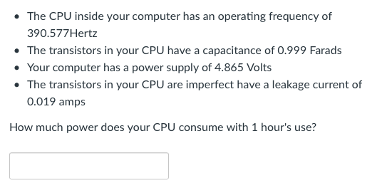 Solved:   The CPU Inside Your Computer Has An Operating Fr
