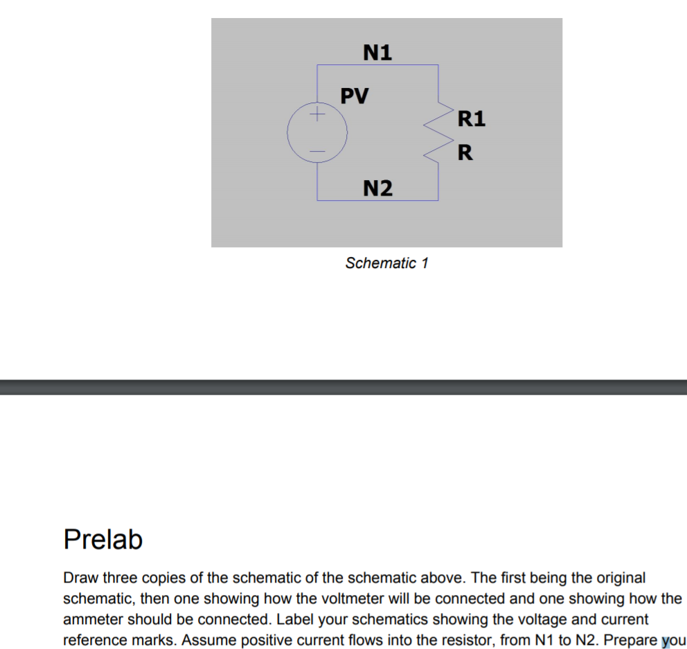 Solved N1 Pv R1 N2 Schematic 1 Prelab Draw Three Copies O Voltmeter Of The