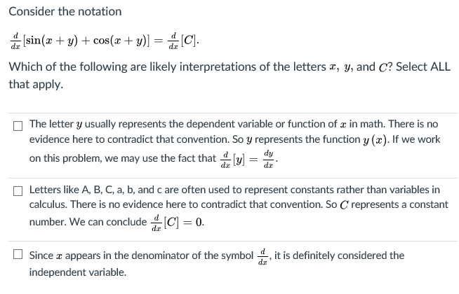 Solved: Consider The Notation 몫 [sin(x + Y) + Cos(x Y)-dz