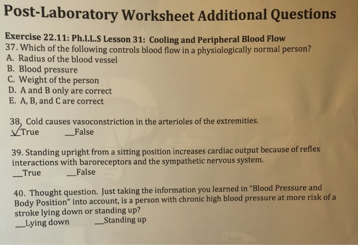Solved: Post-Laboratory Worksheet Additional Questions Exe