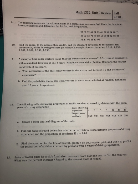 Solved: Math 1332: Unit 2 Review Fall 2018 9  The Followin