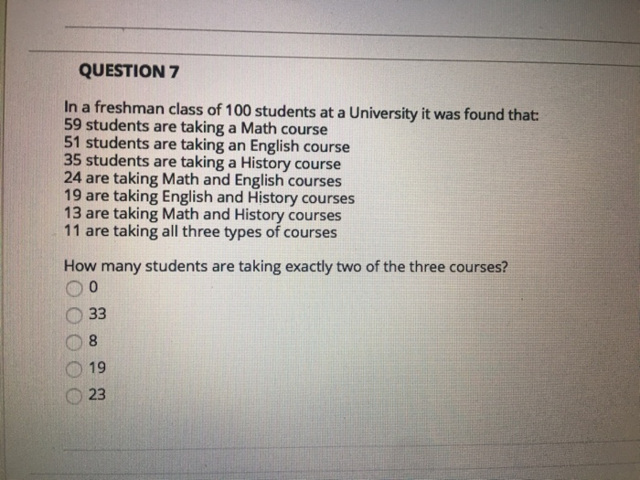 Solved: QUESTION 7 In A Freshman Class Of 100 Students At