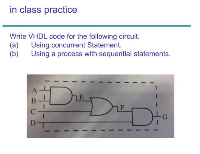 in class practice Write VHDL code for the following circuit. (a) Using concurrent Statement. (b) Using a process with sequential statements.