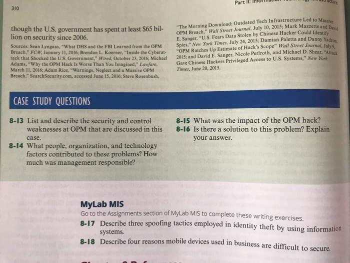 Solved: CASE STUDY U S  Office Of Personnel Management Dat