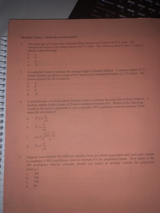 Solved Multiple Choice Circle The Correet Answer 4 The