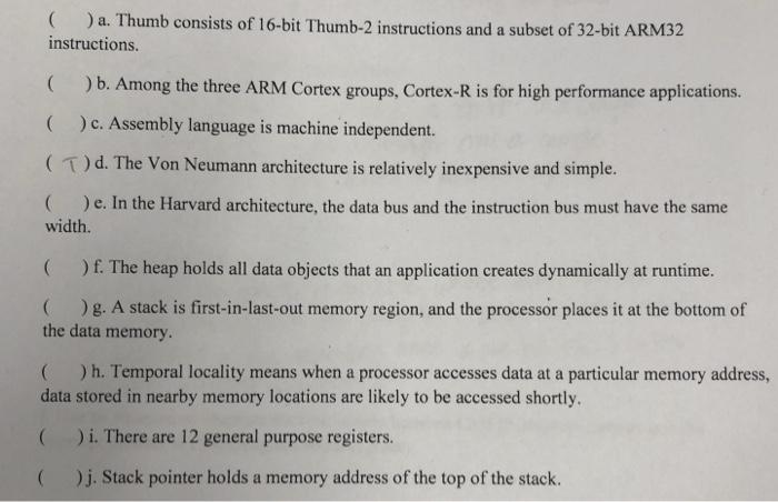 Solved: A  Thumb Consists Of 16-bit Thumb-2 Instructions A
