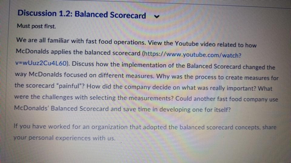 mcdonalds balanced scorecard