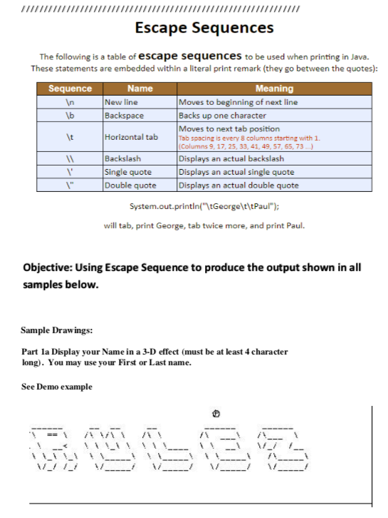 IiTTTIT1 Escape Sequences The Following Is A Table