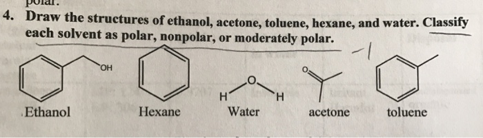 Solved: Draw The Structures Of Ethanol, Acetone, Toluene