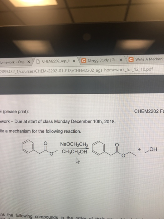 Solved: Lomework -OrgX CHEM2202 Ags XC Chegg Study Gu X C