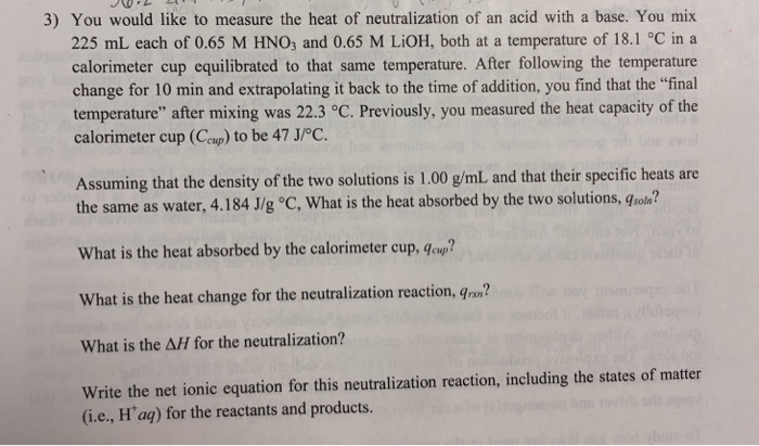 what is the heat of neutralization