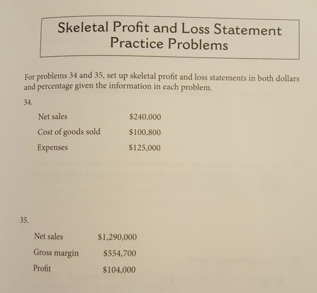 solved skeletal profit and loss statement practice proble