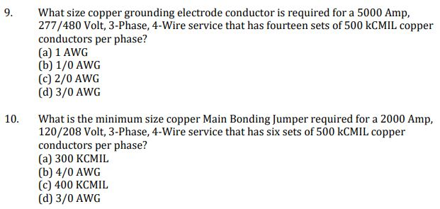 what size copper grounding electrode conductor is required for a 5000 amp  277/480 volt