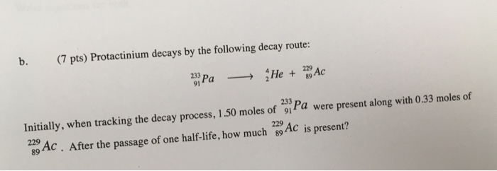 Solved: Protactinium Decays By The Following Decay Route