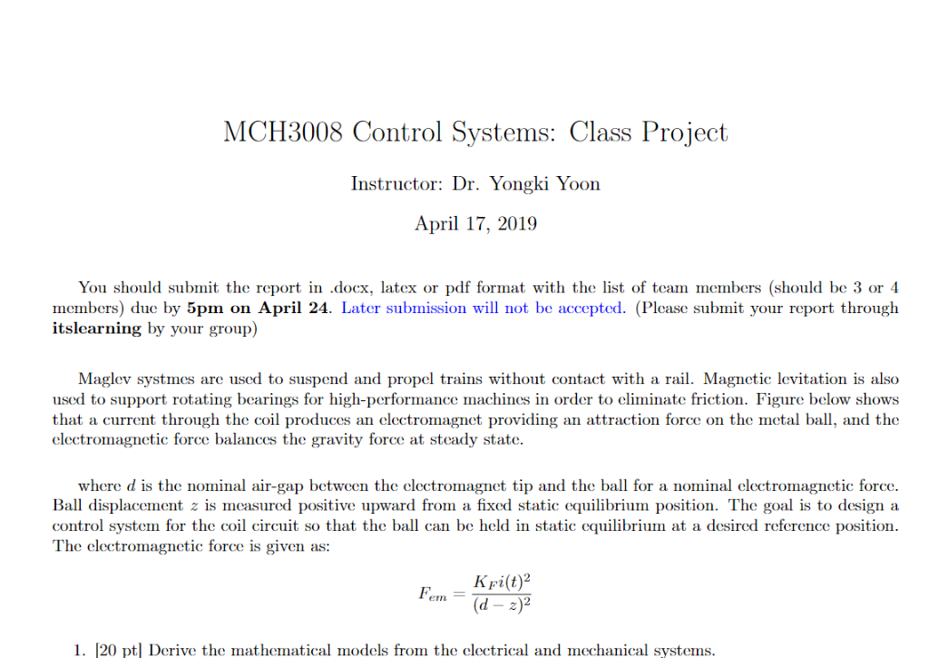 MCH3008 Control Systems: Class Project Instructor:    | Chegg com