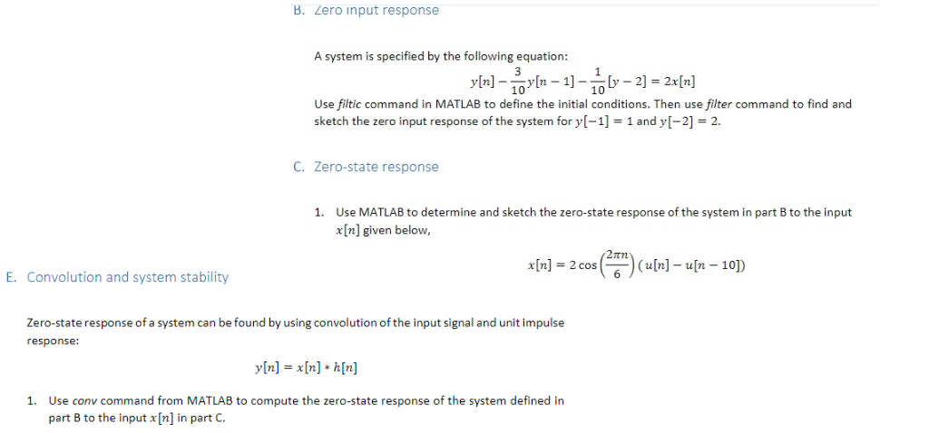 B Zero Input Response A System Is Specified By The Following Equation Y N