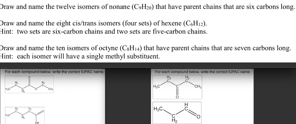 Solved: Draw And Name The Twelve Isomers Of Nonane (C9H20