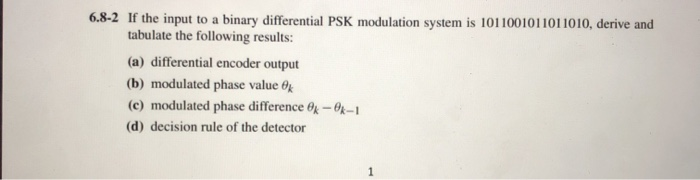 6 8-2 If The Input To A Binary Differential PSK Mo