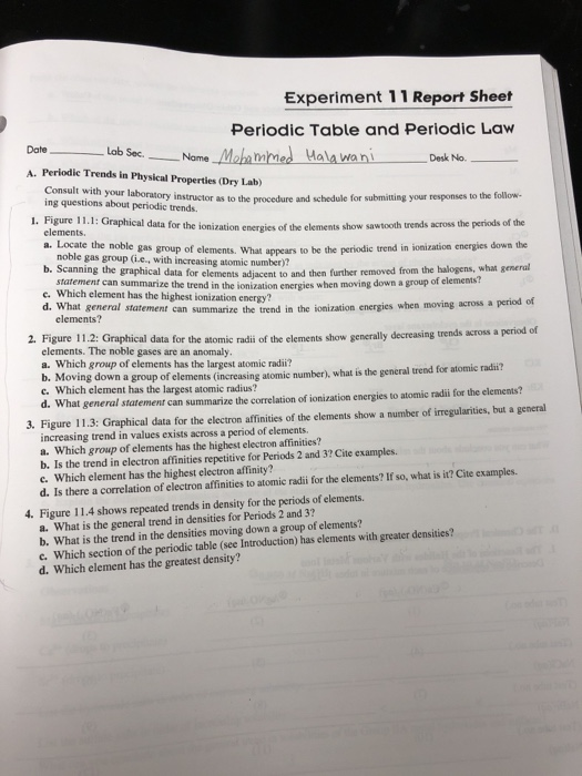 Solved Experiment 11 Report Sheet Periodic Table And Peri