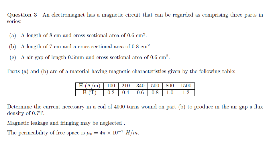 Solved: Question 3 An Electromagnet Has A Magnetic Circuit