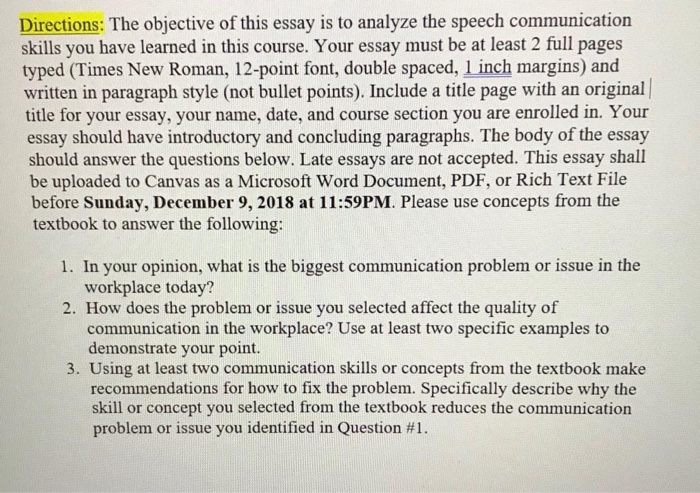 Solved Directions The Objective Of This Essay Is To Anal  Directions The Objective Of This Essay Is To Analyze The Speech Communication  Skills You Have From Thesis To Essay Writing also Graduating From High School Essay  Compare And Contrast Essay Papers