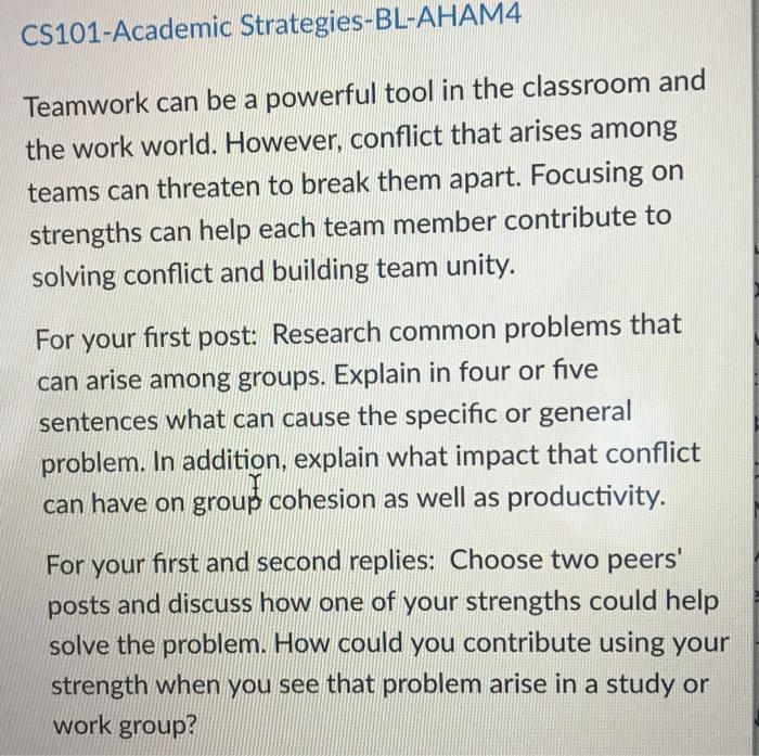Solved: CS101-Academic Strategies-BL-AHAM4 Teamwork Can Be