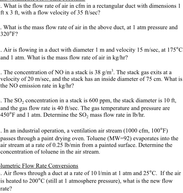 What Is Cfm >> Solved What Is The Flow Rate Of Air In Cfm In A Rectangul