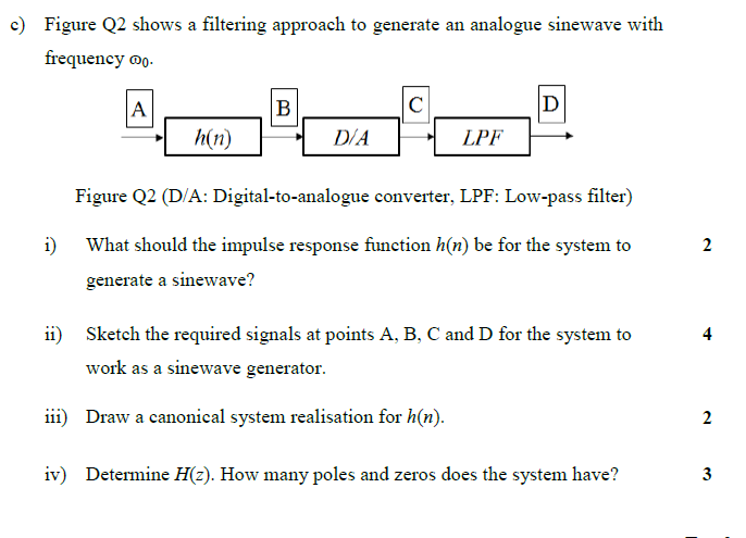 C Figure Q2 Shows A Filtering Approach To Generate
