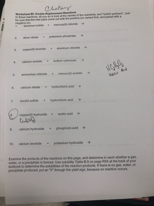 Solved: Worksheet #5: Double-Replacement Reactions In Thes ...
