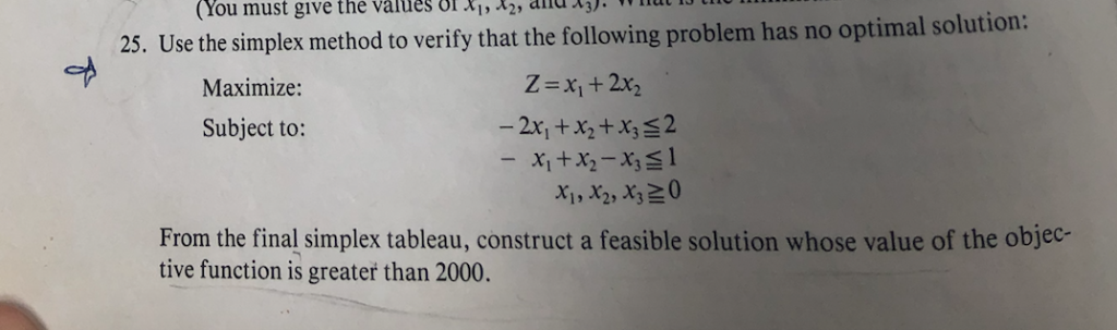 (You must give the values ol 2,n se the simplex method to verify that the following problem has no optimal solution: Z-x1 +2x