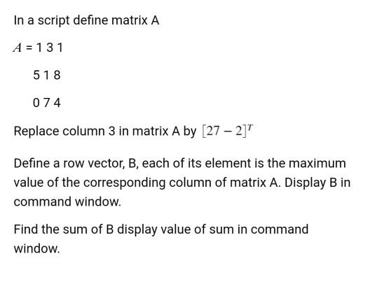 In A Script Define Matrix 131 518 074 Replace Column 3 By