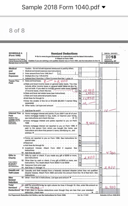 Sample 2018 Form 1040pdf Form 1040 0018 900 Ref Cheggcom