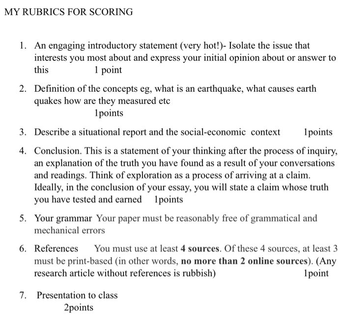 Example Of Essay Writing In English My Rubrics For Scoring An Engaging Introductory Statement Very Hot  Isolate The English Essays For High School Students also Thesis Statement For A Persuasive Essay Write An Essay And Use  Online Sources And Make S  Cheggcom How To Make A Good Thesis Statement For An Essay