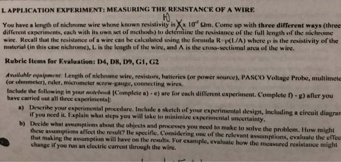 Solved llication experiment measuring the resistance llication experiment measuring the resistance of a wire you have a length of keyboard keysfo Choice Image