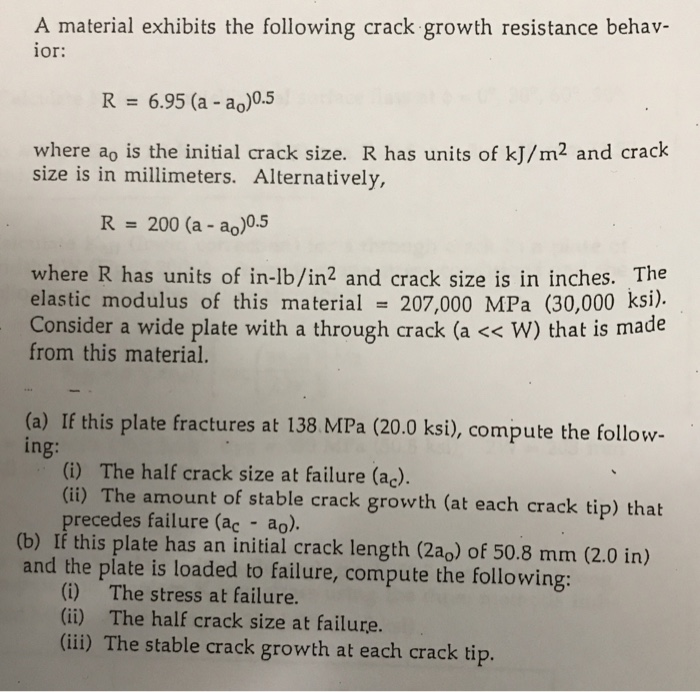 Solved: A Material Exhibits The Following Crack Growth Res