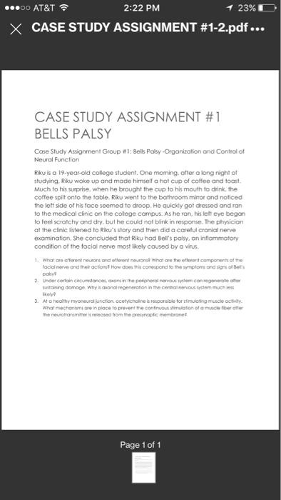 Case Study Assignment Group #l:Bells Palsy-Organiz      Chegg com