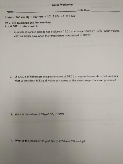 Solved: Gases Worksheet Lab Time: Name: 1 Atm 760 Mm Hg 76 ...