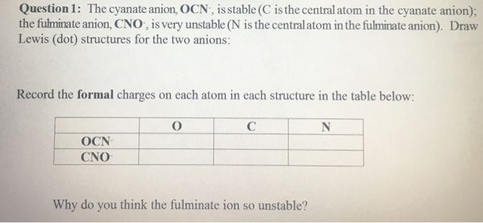 Solved Question 1 The Cyanate Anion Ocn Is Stable C I