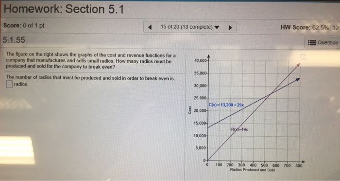 Homework: Section 5.1 Score: 0 of 1 pt 5.1.55 !5o120 (13 complete) ▼ HW Score: 62.5%, 12 Question The figure on the right shows the graphs of the cost and revenue functions for a company that manufactures and sells small radios. How many radios must be produced and sold for the company to break even? 40,000 35,000 30,000 25,000 The number of radios that must be produced and sold in order to break even is radios 20,000 15,000 10,000 5,000 0 100 200 300 400 500 600 700 800 Radios Produced and Sold