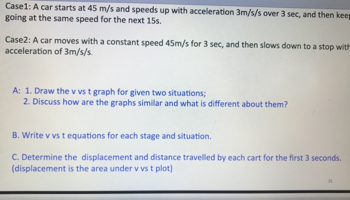 Case1 A Car Starts At 45 M S And Sds Up With Acceleration 3m Over 3 Sec Then Kee Goi
